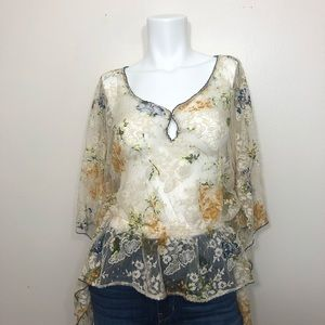 Free People Lace cream floral top